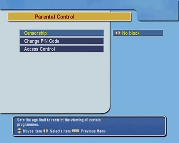 Parental control menu